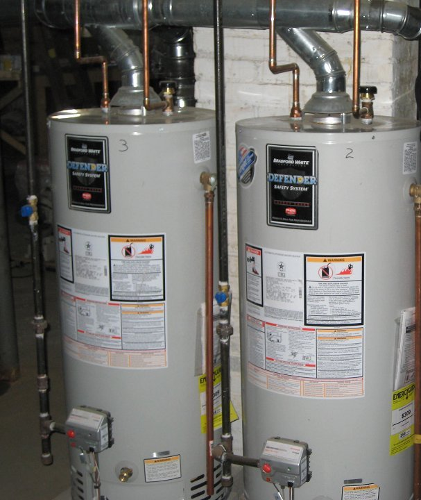 standard tank style water heater installed